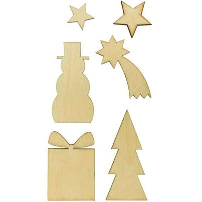 WOODEN DECO SET CHRISTMAS 6 PC