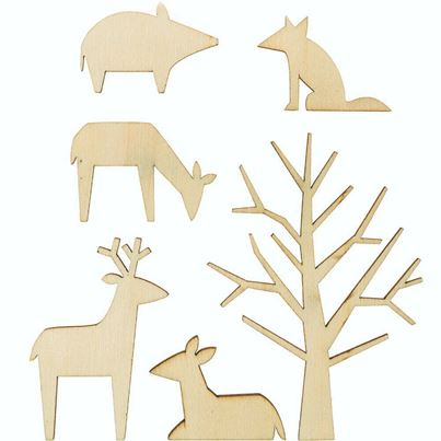 WOODEN DECO ANIMALS 6 PC