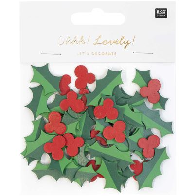 CHRISTMAS HOLLY WOOD 48PCE