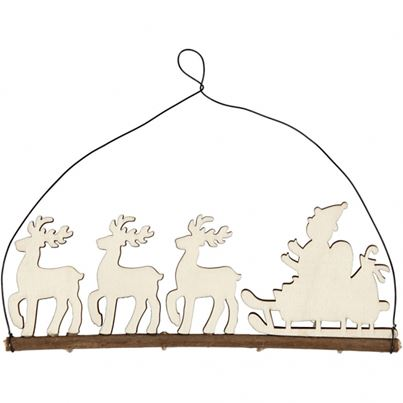 SANTA AND HIS REINDEERS 8CM
